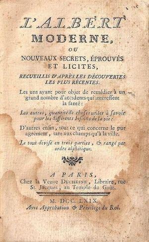 L'ALBERT MODERNE ou NOUVEAUX SECRETS..., 1769. albertm1